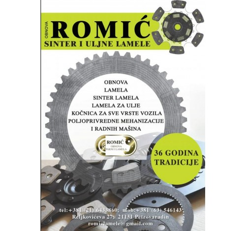 Sinter lamele i pakne Romić – obnova lamela